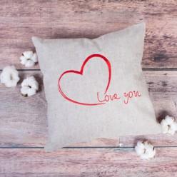 Декоративная подушка из натурального льна с вышивкой